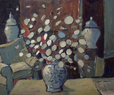 Interior with Silver Dollar plant in vase 70x50cm LR