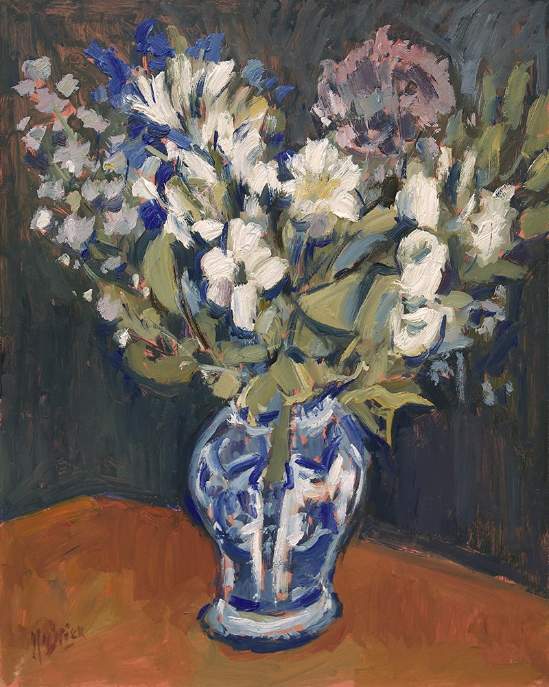Still life with fresh flowers in Delft blue vase 40x50oilmasonite LR