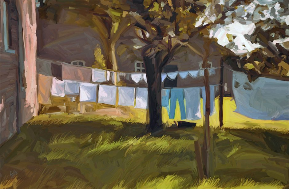 The laundry outside in Baarschot plein air digital by Nop Briex FB